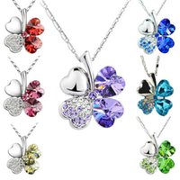 Wholesale Rhinestone Leaf Clover - Multi-color Ladies Necklaces Jewel Pendants Four Leaf Clover Long Neckless Flower Crystal Jewelry Girls Women Birthday Gift