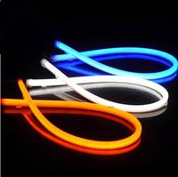 luz longa conduzida carro venda por atacado-2 pçs / lote Daytime Running Atacado Car LED Faróis Modificado Atmosfera Guia de Luz de Silicone Luzes Da Lâmpada Luzes Sobrancelha de Lágrimas Longas 60 CM