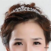 Wholesale bridal jewelry tiaras for sale - Group buy Hair Tiaras In Stock Cheap Diamond Rhinestone Wedding Crown Hair Band Tiara Bridal Prom Evening Jewelry Headpieces