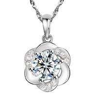 österreich blumenanhänger großhandel-Neue schmuck 30% 925 sterling silber bestnote diamant plum flower österreich kristall anhänger halskette für hochzeit
