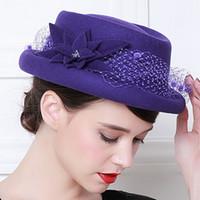Wholesale Australian Hat For Men - Wholesale-Free Shipping 5pcs lot Fedora Hat For Women Ladies Girls 100 % Australian Wool Floral Bowler Fedoras Hat Elegant French Trilby