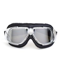 Wholesale Motorcycle Glasses Goggles Vintage - NEW Arrival Classic Vintage Motorcycle Goggles Anti-UV Leather Cruiser Scooter Goggles Motorbike Riding Glasses Smoke Lens