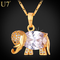 Wholesale Rhinestone Elephant Pendant Necklace - Western Design Cute Elephant Necklace 2015 Trendy 18K Real Gold Platinum Plated AAA Zirconia Pendant Necklace Lucky Jewelry P562