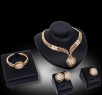 African Jewelry Sets Women Wedding Round Crystal Necklace Bracelet Ring Earring 18K Gold Plated Bridal Jewellery Set