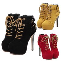 Wholesale Sexy Black Booties Shoes - Sexy Stiletto Platform Shoes With Buckles Lace Up High Heel Ankle Boot Shoe Womens Booties Add Plush Winter Size 35 to 40