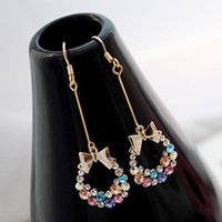 Vente en gros Style de mode en or plaqué or brillant en cristal Crystal bowknot Dangle Drop Earring Jewelry