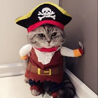 Wholesale Funny Costumes For Halloween - New Funny Cat Costume Pirate Suit Cat Clothes Corsair Costume Puppy Suit Dressing Up Party Clothes For Cat Fashion Pet Supplies