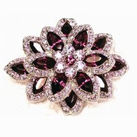 Wholesale Rhinestone Brooches Pink - Gold Plated Pink Crystal Diamante and Purple Marquise Crystal Brooch Party Gift Pins