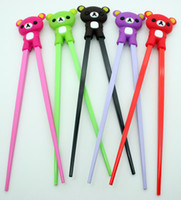 Wholesale Wholesale Guide Bearings - WHOLESALE 10PC 5pair Lovely Small Bear Rubber Guide Plastic Child Chinese Fun Training Chopsticks