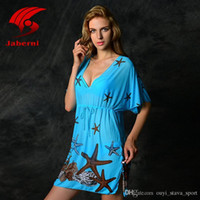Wholesale Vintage Swimsuits For Sale - 2016 Hot Sale Print Starfish Sexy Beach Wear Women Swimsuit Cover Up Casual Swimwear Dress For Lady Retro Bathing Suit Vintage Beachwear