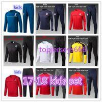 Wholesale Sets Kids Sweatshirts - AAA+ quality kids NEYMAR JR soccer Tracksuit 2017 2018 kids AC milan HIGUAIN DBYBALA HAZARD Real Madrid tracksuit jacket Sweatshirt set