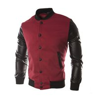 suéteres de vino de los hombres al por mayor-Fall-New Men 2015 Sweater PU Leather Collar Sweater Ropa de costura de béisbol personalizada Hombre Chaqueta Plus Size M-4XL Vino Rojo Navy