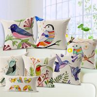 ingrosso decorazioni per uccelli-Bellissimi uccellini colorati 45 cm * 45 cm Guanciale per la casa della nuova stagione Decorazione per la cerimonia nuziale