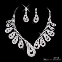 Wholesale wedding necklaces for sale - Cheap New Hot Sale Womens Bridal Wedding Pageant Rhinestone Necklace Earrings Jewelry Sets for Party Bridal Jewelry