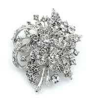 Wholesale Wholesale Vintage Look Flower Brooches - Free Shipping ! Wholesale Vintage Look Clear Rhinstone Crystal Diamante Flower Brooch Prom Party Pins Fashion Accessory