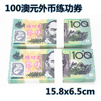 Wholesale Rolls Money - 100% real high-grade paper fake prop money 100 Australian dollar exercise roll Bank school training institutions Film-specific props
