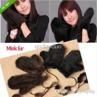 Wholesale Hat Mitten Scarf - xmas New Knitted Mink Fur 2 Color Winter Mittens Gloves Scarf Hat