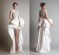 Wholesale Gorgeous Short Skirts - Krikor Jabotian 2016 Organza Sheath High Low Wedding Dresses Gorgeous Juliet Appliques Lace Bridal Gowns Ruched Formal Dress Cap Sleeves