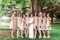 Wholesale Short Dresses For Bride Maids - 2016 Short Bridesmaid Dresses Champagne Gray Beach Lace Bridesmaids Dresses Knee Length Cheap Plus Size Maids of Honor Gowns For Bride