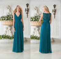 Wholesale Cheap Teal Dress - 2017 Cheap Jasmine Vintage V Neck Teal Green Chiffon Plus Size Long Bridesmaid Dresses A Line Lace Hollow Back Bridesmaid Gowns DL1314147