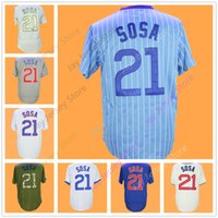 Wholesale vintage jersey baseball - Sammy Sosa Jersey Cooperstown Vintage Flexbase Cool Base Home Away Grey White Pinstripe Baby Blue
