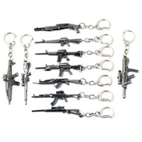 Wholesale Keychain Cool - 10 Styles Simulation Weapon Model Keychain Gun Key Chain Car Keyring Cool Mens Key Cover Jewelry