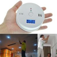Wholesale carbon monoxide gas detector - CO Carbon Monoxide Detector Alarm Sensor Poisoning LCD Gas Fire Warning Alarm Sensors Brand new white 20pcsGas Analyzers