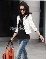 Wholesale Cheap Womens Jackets Coats - w1028 Black White Fashion Spring 2014 Female Coats Womens Short Jackets With Rivet for Lady's Blazer Cardigan Cheap