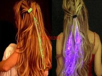 100pcs / lot DHL freies Verschiffen Wholesale Luminous Light Up LED Haar Flash-Braid Haar Glow Dekoration Ereignis Party Supplies