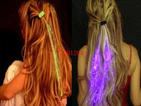 100pcs / lot Suministros envío de DHL al por mayor libre Luminous Light Up Hair LED Party Evento flash trenza de pelo Glow Decoración