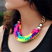 Wholesale Neon Rope Necklace - Fashion Design Jewelry Multicolor Big Chunky Ropes Chain Statement Necklace Neon Colour Choker Necklace For women 2016 XL001