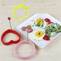 Wholesale Egg Shape Fried - Kitchen Tools Stars Heart Round Flower Shape Non-stick Silicone Fried Egg Mold Pancake Rings Cooking Egg Tools Mould