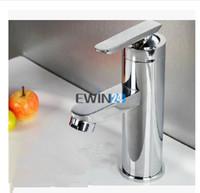 banyo lavabo kulpları krom toptan satış-1X Modern Krom Banyo Havzası Musluk Tek Kolu Evye Mikser Dokunun Güverte Üstü mutfak musluk çok fonksiyonlu