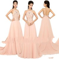 Wholesale Womens Training Top - Chiffon Bridesmaid Dress 2016 Top Selling Halter Backless Long Prom Dresses For Womens Cheap Formal Party Gowns Crystals