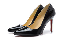 Wholesale Matte Dresses - 10CM woman Red Bottom Pointed Pumps pink black High-heeled Stilettos Shoes For Women Matte Leather Wedding Shoes Luxury