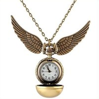 Wholesale New Fashion Wings - 2015 Golden Snitch Harry Potter Pocket Watch Steampunk Quidditch Wings Watch A171