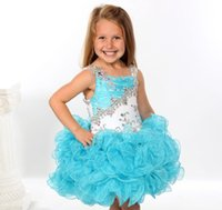 Wholesale Infant Spaghetti Strap - 2015 Flower Girls' DressesNewest Girls pageant dress Sequins Beaded Straps Ruffles Pleated Organza Cupcake Toddlers Infant Kids Short skirts