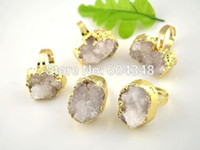 Barato Druzy Geode Crystal-5pcs Nature Druzy Quartz Geode Anéis em cor branca, Crystal Druzy Drusy Gem Stone Finger rings, Gold Plate Edge Jewelry Rings