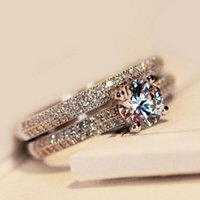 Wholesale Size4 Amazing Victoria Weick sterling silver filled White topaz Ziconia Diamonique Wedding Engagement Bridal Band Ring set GIFT