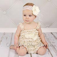 Wholesale Baby Petti Tutu - Baby Girl Petti Romper Matching Flower Sash and Baby Headband set Vintage Chic Romper 4set lot