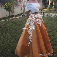 Wholesale Silver Satin Jacket - Vintage Lace Off Shoulder Prom Party Dresses A Line Two Pieces Floor Length Formal Dress Evening Gowns 2016 Saudi Arabic Vestido de Fiesta