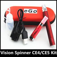 Wholesale Ego Zip Cases - Ego starter kit CE4 CE5 Vision spinner e cigarette e-cigarette kit 650mah 900mah 1100mah 1300mah e cigs kit Ego ce4 ce5 zip case DHL free
