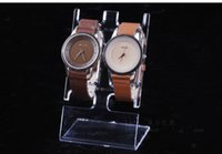 Wholesale L shaped Clear Plastic Watch Display Stand Wristwatch Holder Rack Watch Bracelet Jewelry Display Stand Holder Showcase