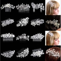 Wholesale Hair Austrian Crystal - Beautiful Floral Wedding Tiara Sparkling Silver Plated Austrian Crystal Pearl Bridal Hair Combs Hairpin Jewelry Hair Accessories