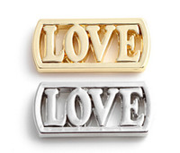 20pcs / lot Silver Gold Plated Alloy LOVE Letter Floating Window Plates Fit For 30mm Magnificent Glass Charms Locket