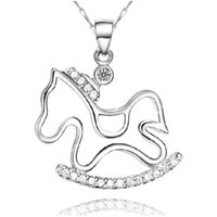Wholesale Horse Pony Pendant - 925 sterling silver items crystal jewelry horse pony pendant statement necklaces vintage hot charms free shipping