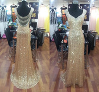 Wholesale Cheap Long Sequined Dresses - Cheap !Sheer Back Gold Sequined Mermaid Prom Dresses 2016 Long Sexy Backless Evening Dress Dazzling Crystal Formal Party Gowns Real Pictures