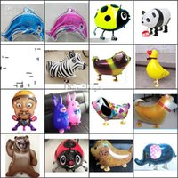 globo inflable para mascotas al por mayor-Grandes 18 pulgadas Walking animal balloons walking pet balloons Aluminium Hybrid Models inflable globo de papel de animales Niños Fiesta Juguetes Regalos