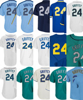 Wholesale Lady Shorts - 2017 Mens Lady Kid Toddler Seattle 24 Ken Griffey Jr Jerseys Cream Green Blue Navy Blue White Cooperstown Thrownback Cheap Baseball Jersey