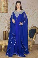 Wholesale Evening Dress Jacket Taffeta - 2015 Dubai Kaftan Long Arabic Evening Dresses Royal Blue Scoop Beading Abaya robe with Long Sleeves